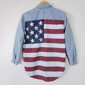 Topshop Moto American Flag Chambray Shirt Light